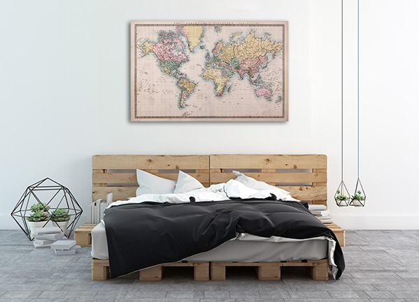 1860's World Map Wall Art