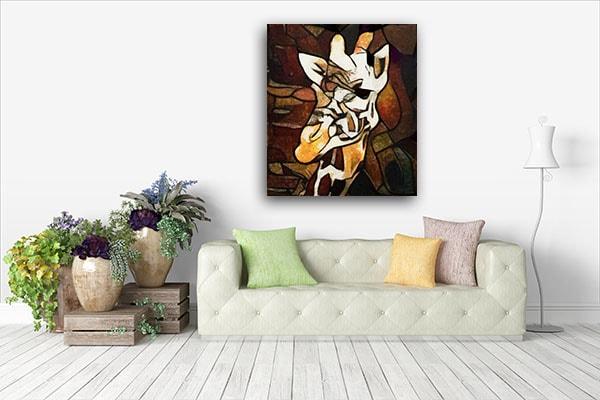 Abstract Giraffe Head Art Print Artwork