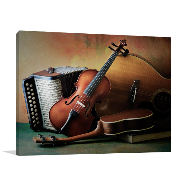 Acoustic Musical Instruments Canvas Art