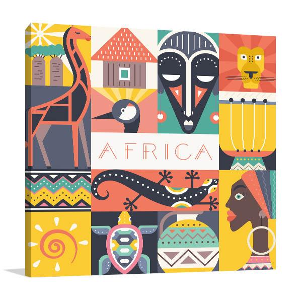 African Illustration Canvas Art Prints