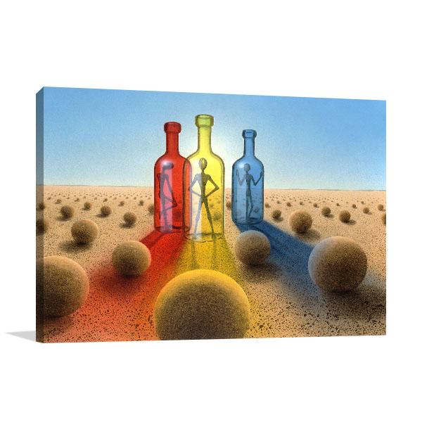 Alien in Bottles Canvas Prints