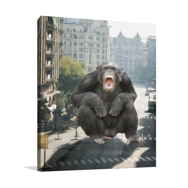 Angry Monkey at City Canvas Prints