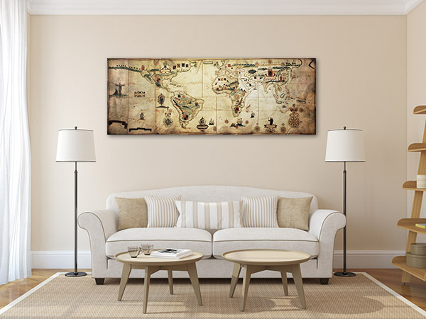 Antique World Planisphere Wall Art