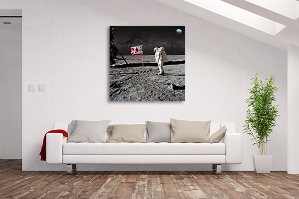 Astronaut On Lunar Canvas Art