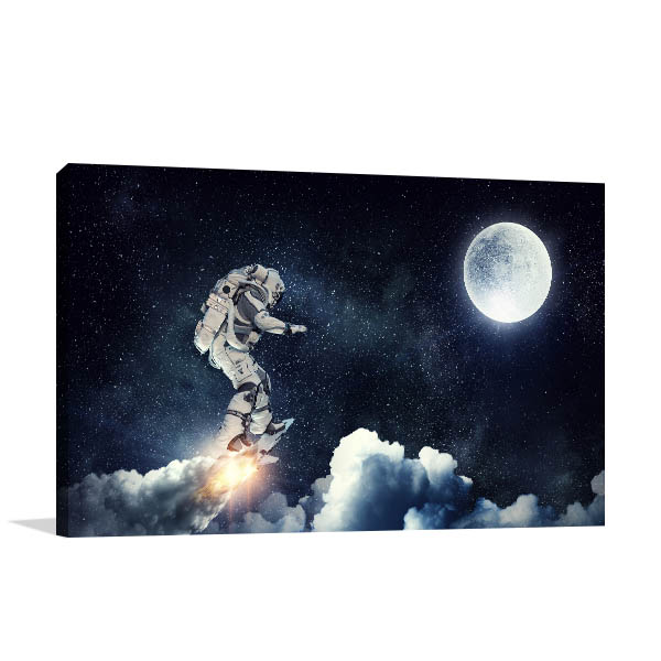 Astronaut Surfing Canvas Art Prints