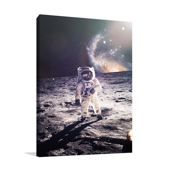 Astronaut Walking on Moon Wall Art