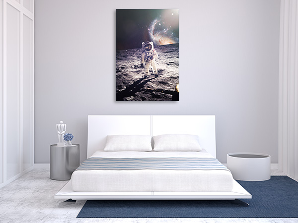 Astronaut Walking on Moon Prints Canvas