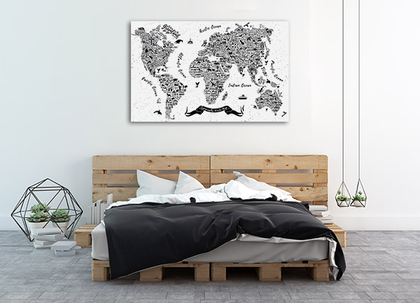Attraction World Map Print Artwork