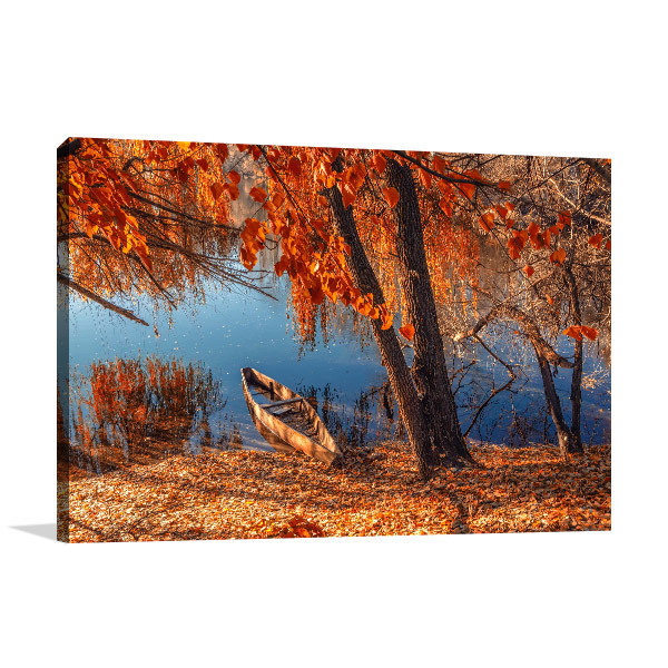 Autumn River Ashore Canvas Art