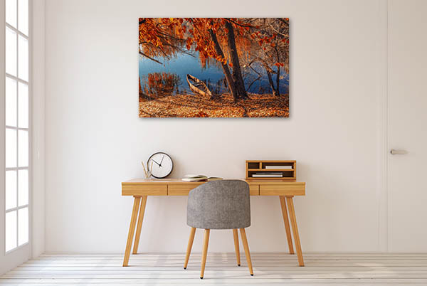 Autumn River Ashore Prints Canvas