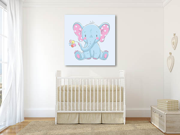 Baby Elephant with Flower Print Artwork