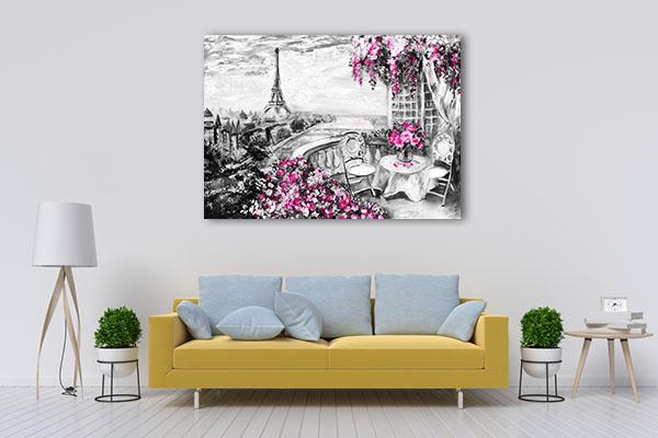 Balcony View of Paris in Print Artwork