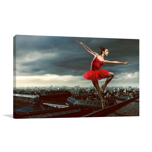 Ballerina in Red Canvas Art Prints