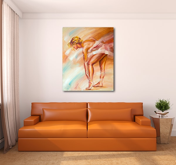 Ballerina Stretching Canvas Prints