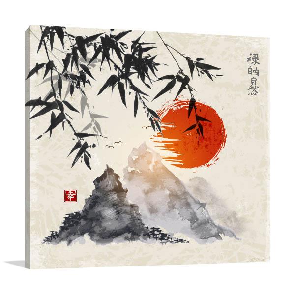 Bamboo and Fuji Canvas Art Prints