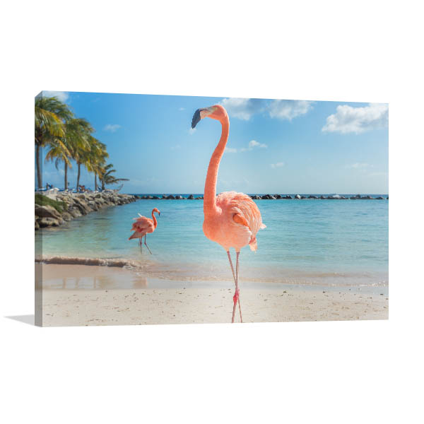 Beach Flamingos Wall Art Print Canvas Art
