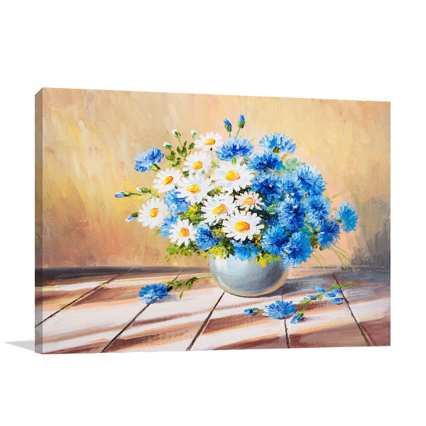 Beautiful Blue Daisies Wall Art