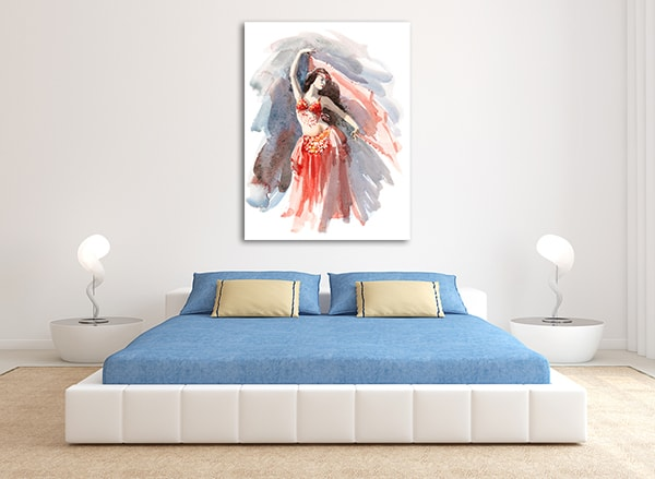 Belly Dancer Watercolour Canvas Prints