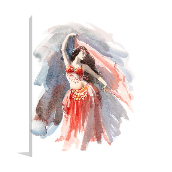 Belly Dancer Watercolour Artwork