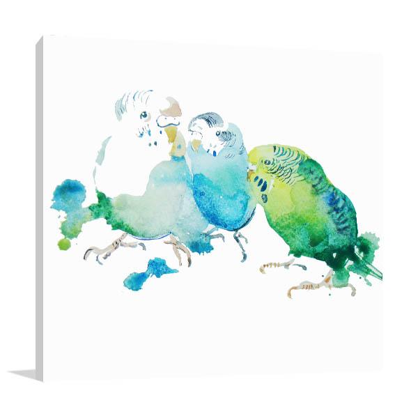Birds In Watercolour Canvas Art