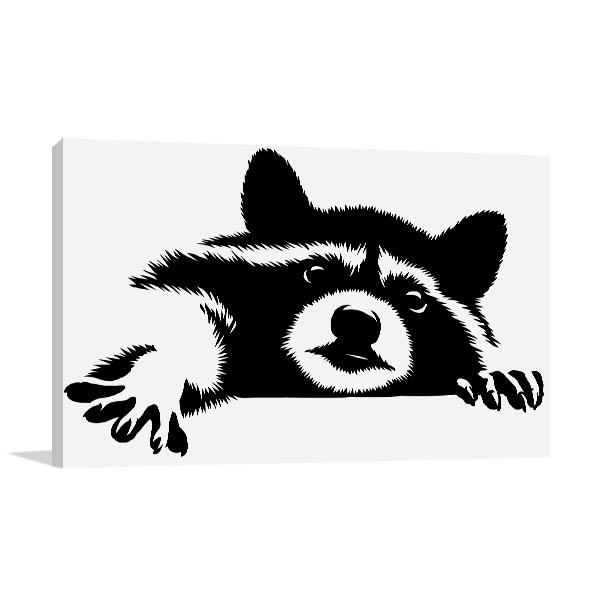 Black and White Racoon Art Prints
