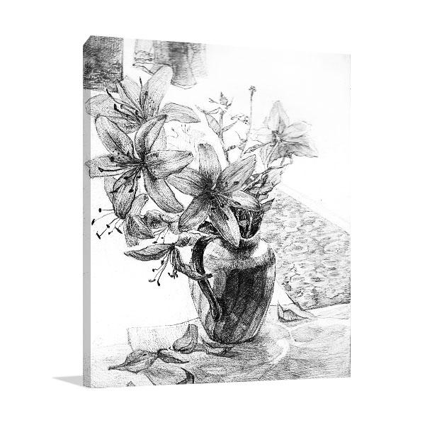 black and white still life flower art print for sale