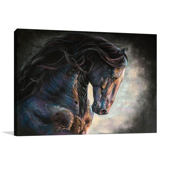 Black Frishian Horse Art Print Canvas Prints