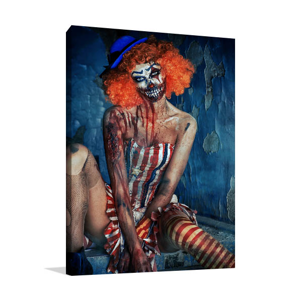 Bloody Scary Clown Canvas Art Prints