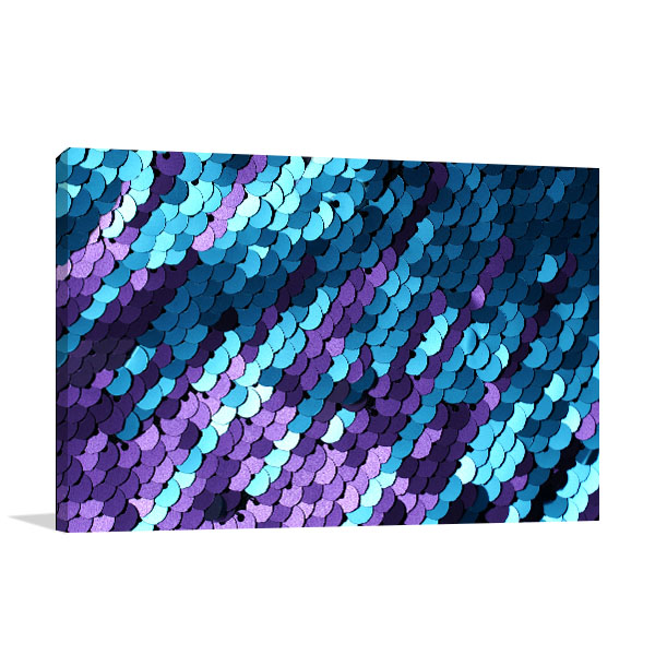 Blue and Lilac Sequins Art Print Canvas Art