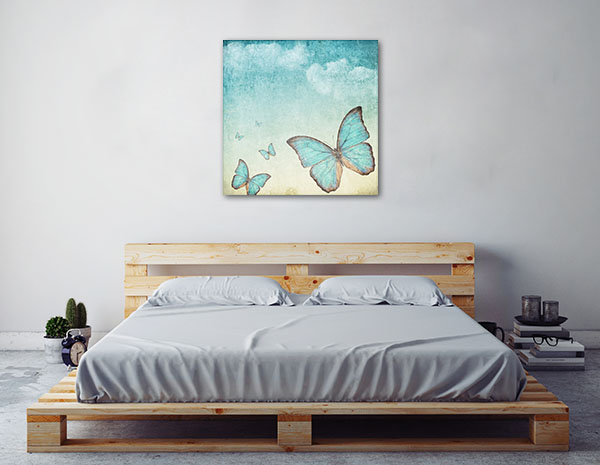Blue Butterflies Prints Canvas