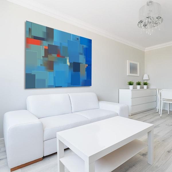 Blue Cubes Prints Canvas