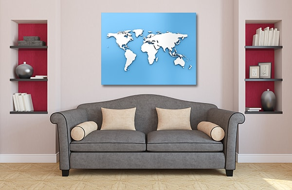 Blue Dimensional Map Art Prints