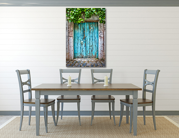 Blue Door Wall Art Print hang on the wall