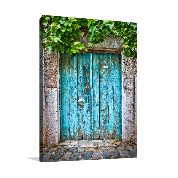 Blue Door Wall Art Print On Canvas