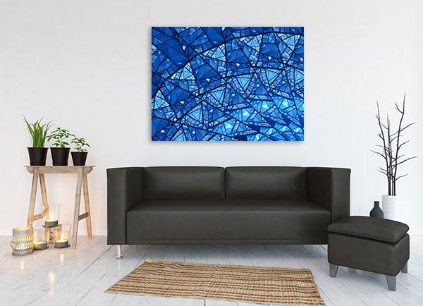 Blue Glass Mosaic Art Print Wall Art