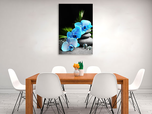 Blue Orchid And Stones Prints Canvas