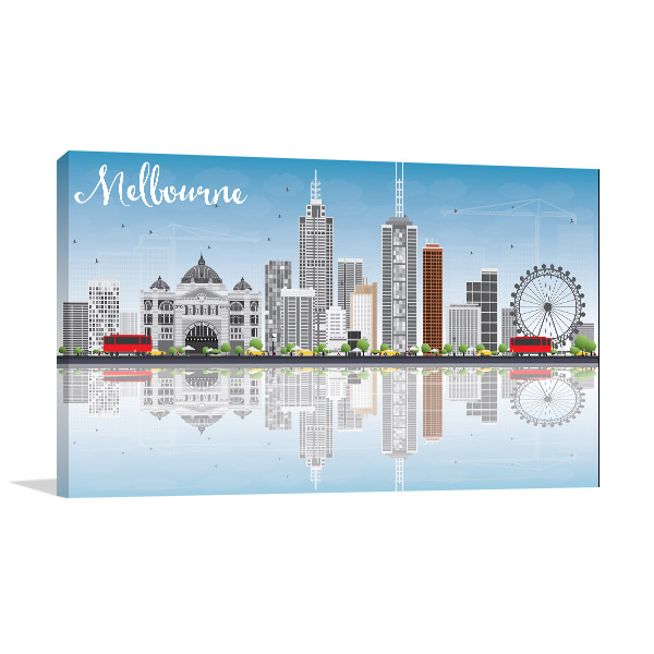 Blue Sky and Reflections Vector Illustration of Melbourne Canvas Prints