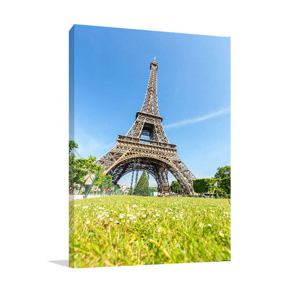 Blue Sky View of Eiffel Tower Canvas Prints