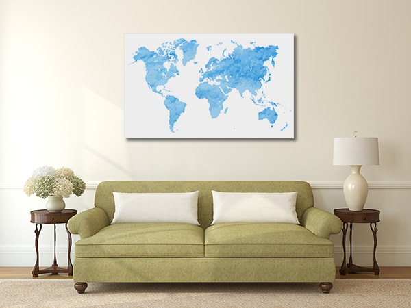 Blue Watercolor Map Prints Canvas