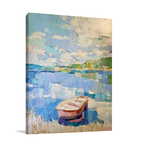 Boat In Blue Lake Canvas Prints