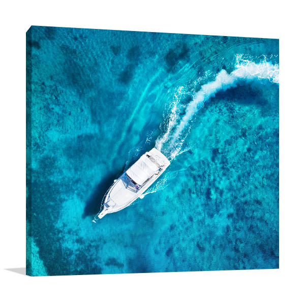 Boat in Clear Water Print Artwork
