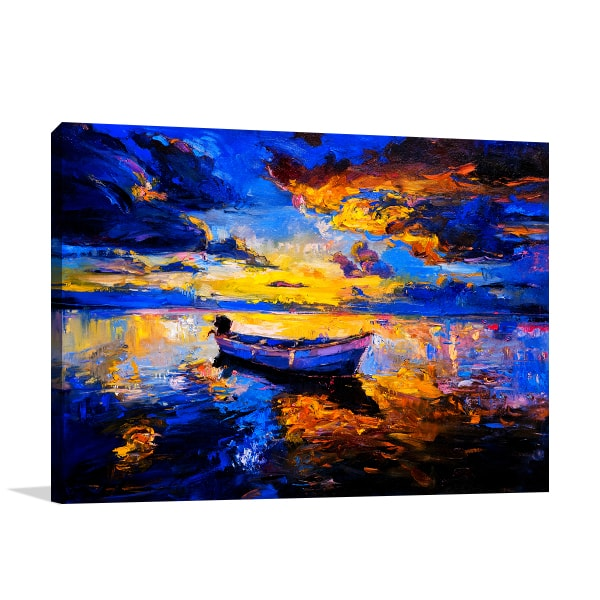 Boat in Sunset Canvas Art