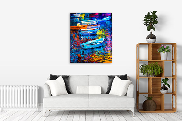 Boats And Sea Prints Canvas