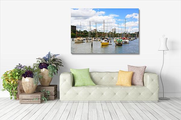 Boats on Brisbane River Prints Canvas