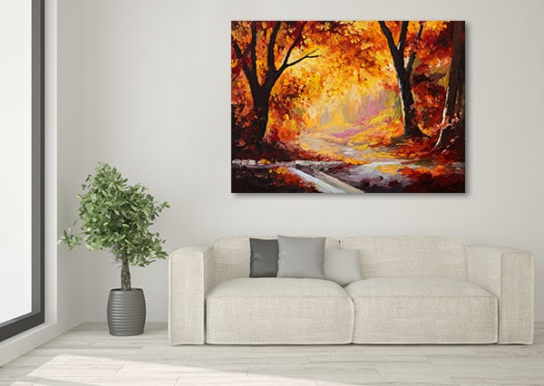 Bright Red Forest Print Art Canvas on the Wall