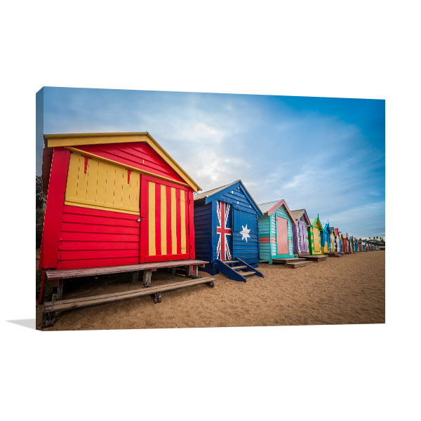Brighton Beach Bathing Boxes in Melbourne Canvas Art