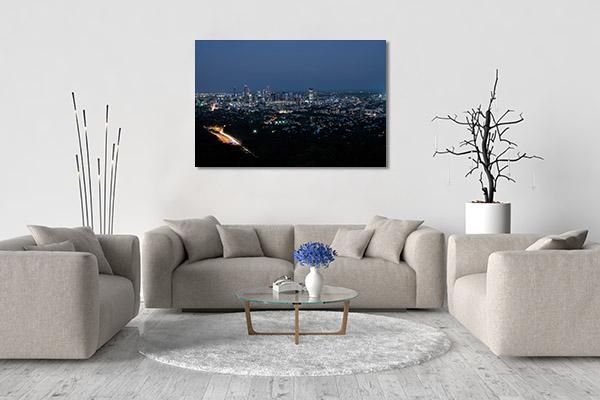 Brisbane Art Print M-Coot-tha Blue Hour Canvas Photo Print