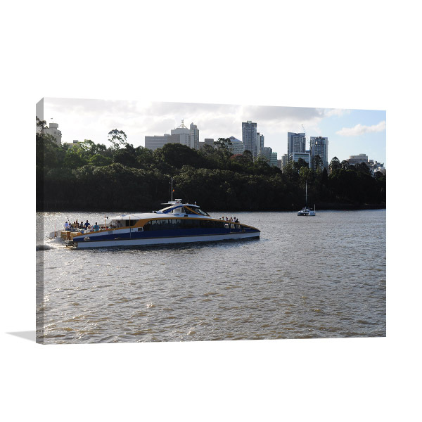 Brisbane Art Print River City Cat Ride Canvas Wall Art