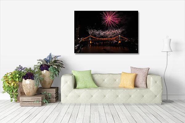Brisbane River Fireworks Canvas Prints