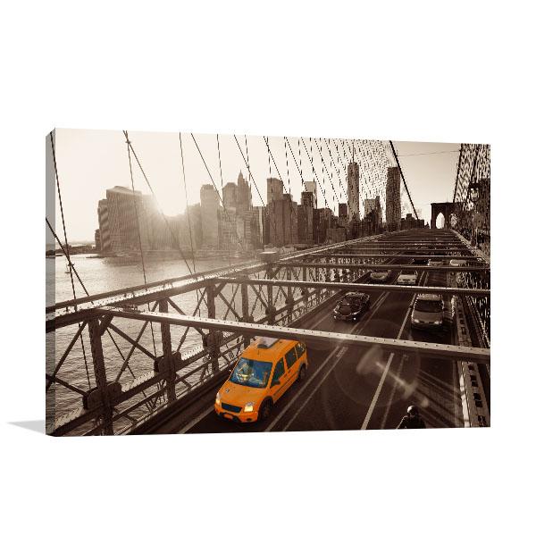 Brooklyn Bridge Traffic Canvas Prints